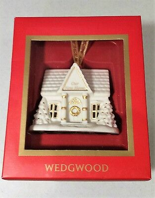 "WEDGWOOD PORCELAIN CHRISTMAS TREE ORNAMENT 2005 ""OUR NEW HOME"" with box"