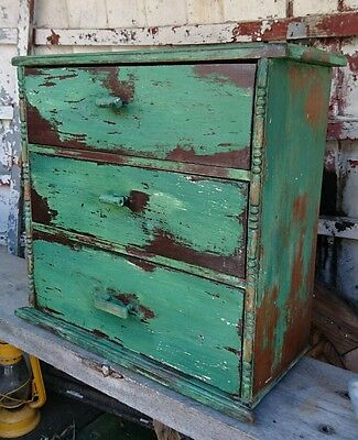 Vintage Industrial Pitch Pine Engineers Collectors Cabinet Drawers old craft