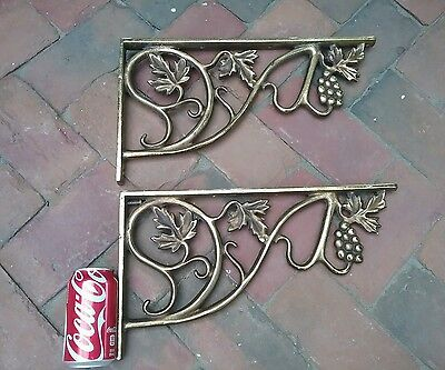EXCELLENT VICTORIAN ~HUGE GOLD GRAPES HEAVY CAST~IRON Corbels ~16 X 9 RARE FIND