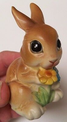 """Adorable Napcoware Big Eyed Bunny Rabbit with Flowers Japan #C-9094 3 1/2"""" Tall"""