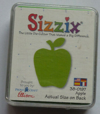 Sizzix Originals small green APPLE 38-0197 Food Drink Fruit 5-A-Day 1 RARE Die