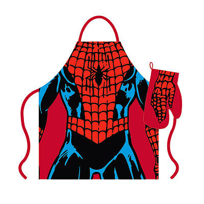 Marvel Official Spiderman Apron and Oven Glove Set