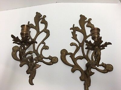 Vintage Pair Wall Sconce Candle Holder French Style
