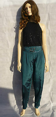 Vintage 1980s Teal Blue High Waisted Tapered Embroidered Trousers Hareem 14-16