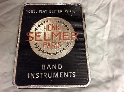 Vintage Henri  Selmer Paris Stand Up Band Instruments Sign..w/w Ship!