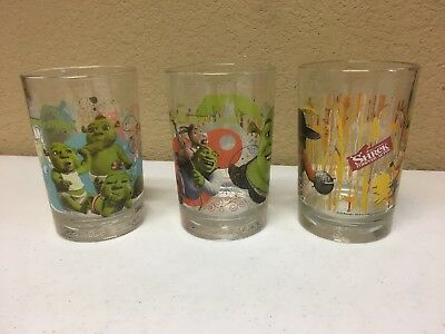 Shrek The Third McDonald's Drinking Glasses Tumblers Set of Two