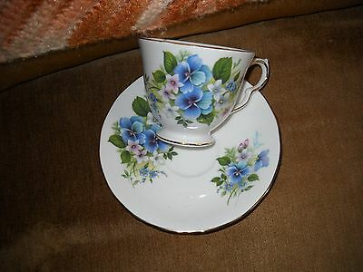 Queen Anne Tea Cup and Saucer with Blue Violets
