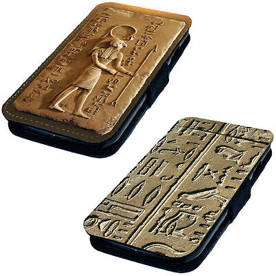 Egyptian Carvings - Printed Faux Leather Flip Phone Cover Case Architecture Nile