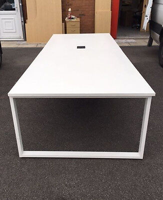 3.2m x 1.2m Bench style boardroom / meeting table in white