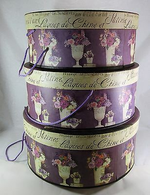 Tri Coastal Designs by Kathryn White Set of 3 Round Hat Boxes