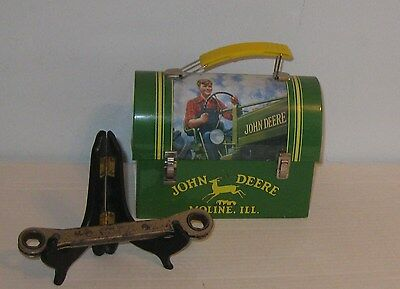 """John Deere Metal Lunch Box VGC + TY 3265 Ratcheting Wrench 1/2""""X9/16"""" Used"""