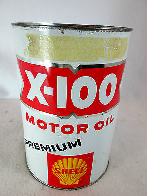 Vintage 1950's Shell X-100 motor oil empty 5 qt. metal can