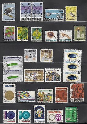 Singapore - 30 stamps, mainly 1970s fine used. High catalogue value
