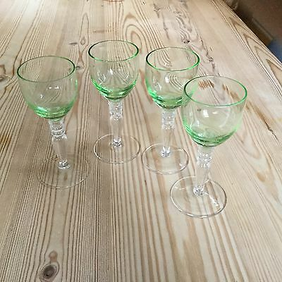 4 vintage green-tinted 2-tone decorative stemmed liqueur glasses.
