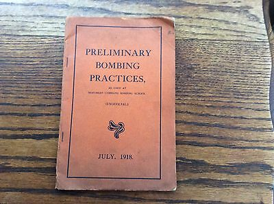 "WW1 Handbook ""Preliminary Bombing Practices"" July 1918"