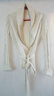 H&M womens beige knitted wrap jumper cardigan, size L