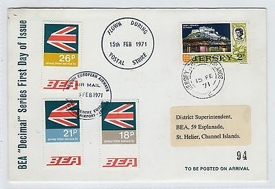 """Jersey: 1971 Bea """"decimal"""" Series First Day Cover Flown During Strike (C23405)"""