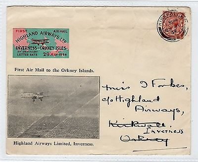 Scot - Kirkwall: 1934 First Flight Cover To Inverness (C23409)