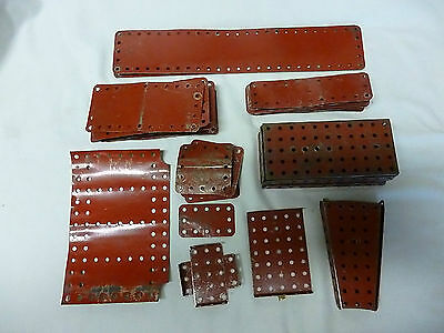 Job Lot Of Vintage Red Meccano Construction Plate Parts.