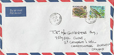 A 1351 Seychelles 1980 airmail cover to UK; tortoise, gecko stamps