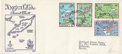 A 1880 Anguilla January 1972 First Day Cover; maps