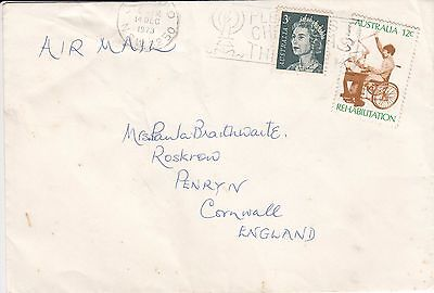 A 1879  Oz 15c card? rate unsealed Dec 1973 air cover UK; 15c rate; rehab stamp