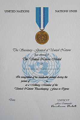United Nations Cyprus Medal Certificate - Mint Condition