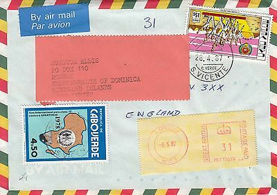 A 2099 Cape Verde cover to Uk Dominica - to Royston Ellis, friend of The Beatles