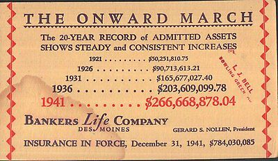 Bankers Life Company,Des Moines,Ink Blotter