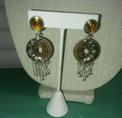 Vintage Sterling Silver Amber Chinese / Mayan Coin Earrings