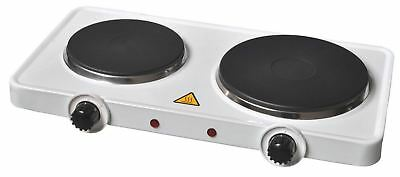 Premium White Finish 2500 Watts Double Twin Hot Plate Hob Stove Cooker