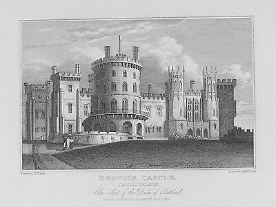 OLD ANTIQUE PRINT BELVOIR CASTLE LEICESTERSHIRE  c1829 by NEALE  ENGRAVING