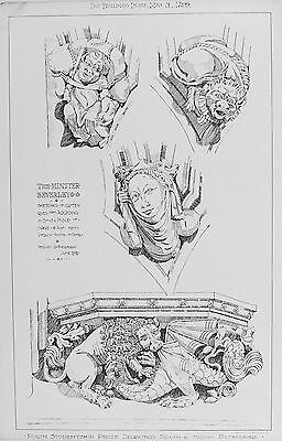 OLD ANTIQUE PRINT BEVERLEY MINSTER GROTESQUES c1899 ARCHITECTURE YORKSHIRE