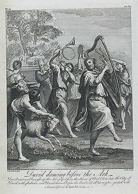 OLD ANTIQUE PRINT DAVID ARK  c1752 BOOK OF SAMUEL by DOMINICHIN SCOTIN ENGRAVING