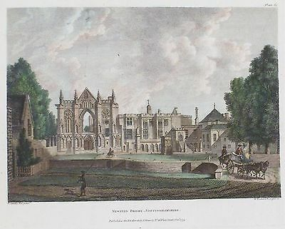 OLD ANTIQUE PRINT NEWSTEAD ABBEY NOTTINGHAMSHIRE c1779 by SANDBY ENGRAVING