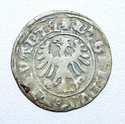Rare Medieval Hammered Silver Coin Depicting Knight On Horse And Eagle - Z13