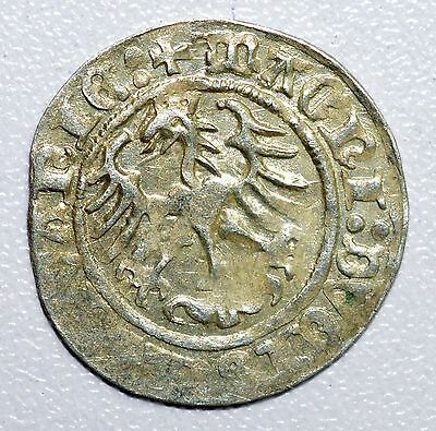 Rare Medieval Hammered Silver Coin Depicting Knight On Horse And Eagle - Z14