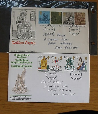 2 FDC First Day Covers 1976 British Cultural Traditions and William Caxton