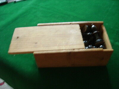 Vintage Large Wooden Chess Set - Boxed - Possibly Staunton