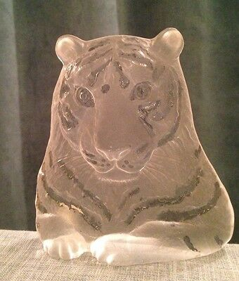 Stunning Mats Jonasson Crystal Tiger from 1970's - RARE