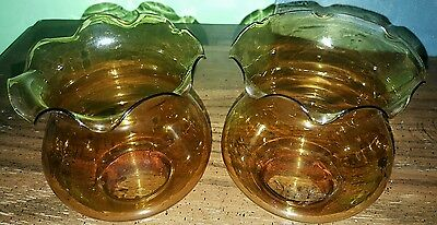 2 Vintage Amber Orange Tulip Style Glass Shades for Light Fixture Lamp or Sconce