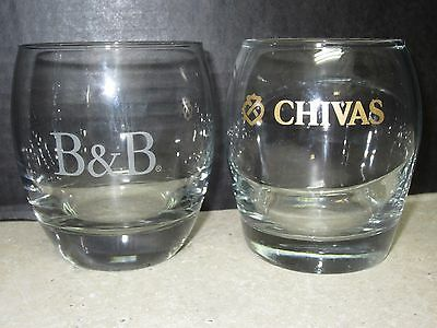Chivas Regal and B & B Scotch Whiskey Low Ball Cocktail Sniffer Glass - New