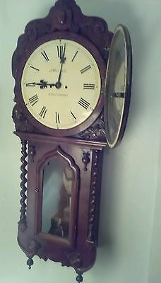 Antique English Twin Fusee Drop Dial Wall Clock