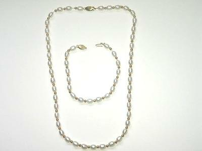 14K Yellow Gold & Beaded Pearl Necklace & Bracelet