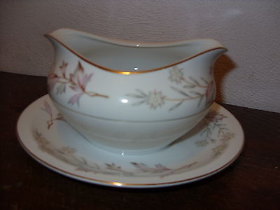 Harmony House China Woodhue Gravy Boat with Attached Underplate-Free US Ship