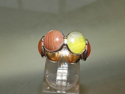 Antique 15Ct Gold Agate Ring M 1/2  6 3/4