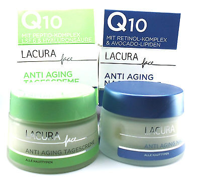 Lacura Face Anti Aging-Set Q10 Day+Night+Hyaluronsäure 2x50ml (001)