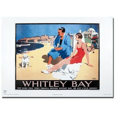 Whitley Bay Beach North Tyneside 50x70cm Rail transport reproduction Poster NEW