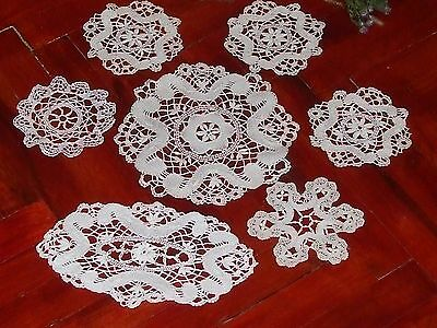 Beautiful Vintage Handmade Brussels Lace Doily-lot of 7pcs