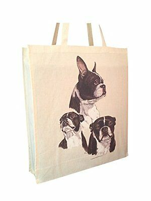 Boston Terrier Group Reusable Cotton Shopping Bag Tote with Spacious Gusset and